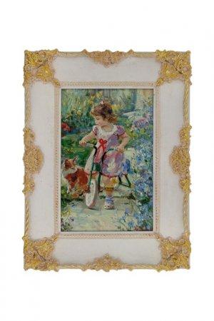 Картина Девочка на велосипеде ГЛАСАР. Цвет: белый, золотой, голубой