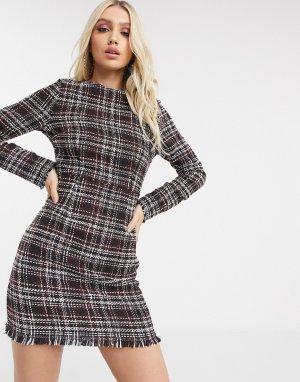 Твидовое приталенное платье -Черный Missguided