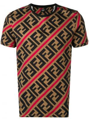 Футболка с логотипом FF Fendi. Цвет: коричневый