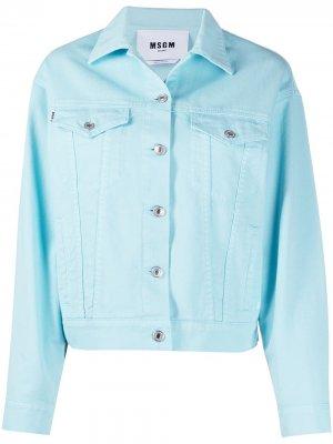 Джинсовая куртка на пуговицах с логотипом MSGM. Цвет: синий