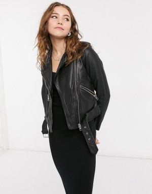 Черная кожаная байкерская куртка Balfern-Черный AllSaints