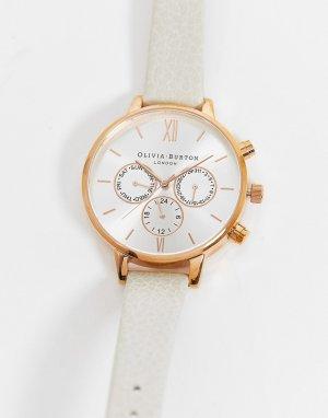 Розово-золотистые часы с хронографом и кожаным ремешком -Белый Olivia Burton