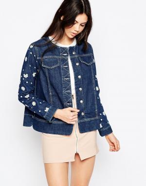 Джинсовая куртка с цветочной аппликацией See By Chloe. Цвет: синий
