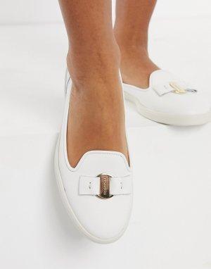 Кремовые кожаные лоферы Mia-Белый Fiorelli