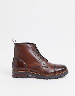 Коричневые ботинки на шнуровке с отделкой носке -Коричневый Base London
