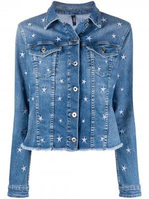 Джинсовая куртка с вышивкой LIU JO. Цвет: синий