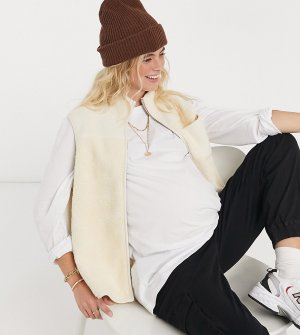 Кремовый эксклюзивный жилет из плюша для беременных -Белый Pieces Maternity