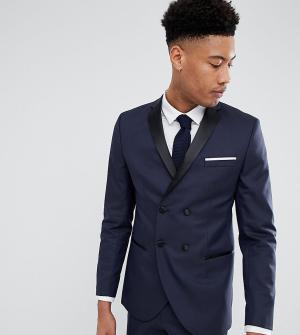 Двубортный пиджак-смокинг узкого кроя Selected Homme. Цвет: темно-синий