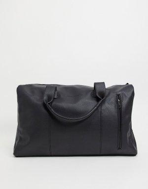 Черная матовая классическая спортивная сумка с 2 ручками -Черный цвет French Connection