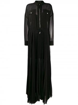Длинное плиссированное платье-рубашка Diesel Black Gold. Цвет: черный