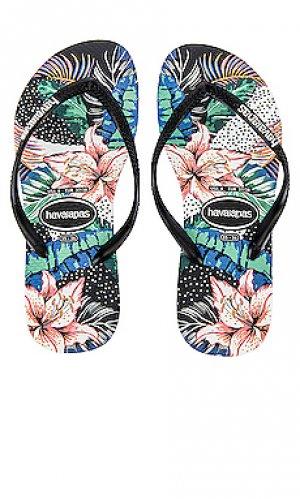 Сандалии slim animal floral Havaianas. Цвет: черный