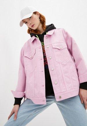 Куртка джинсовая Ireneisgood. Цвет: розовый