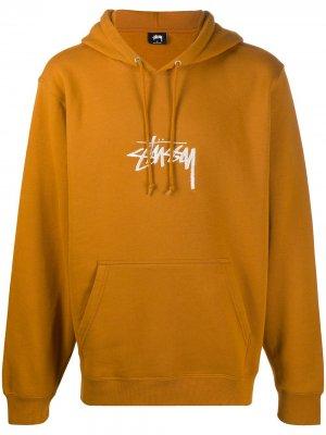 Logo embroidered hoodie Stussy. Цвет: оранжевый