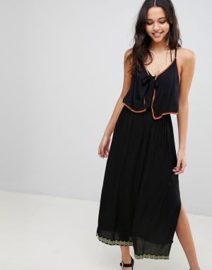 Пляжное платье макси с отделкой Anmol. Цвет: черный