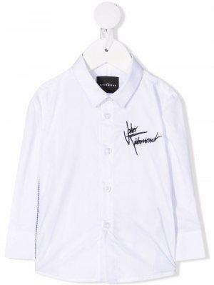 Рубашка на пуговицах с вышитым логотипом John Richmond Junior. Цвет: белый