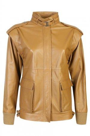 Коричневая кожаная куртка Alberta Ferretti. Цвет: бежевый