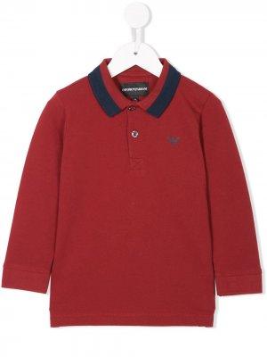 Contrasting collar polo shirt Emporio Armani Kids. Цвет: красный