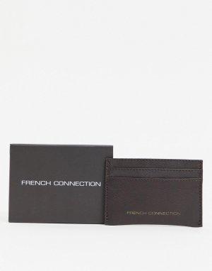 Складная кредитница из премиум-кожи с золотистым логотипом -Коричневый цвет French Connection