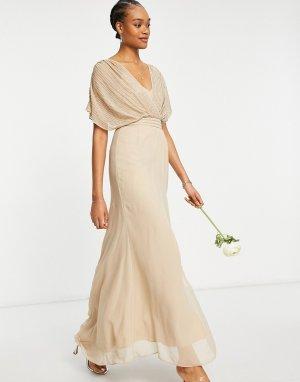 Платье макси с втачным поясом, короткими рукавами и декоративной отделкой Bridesmaid-Нейтральный ASOS DESIGN