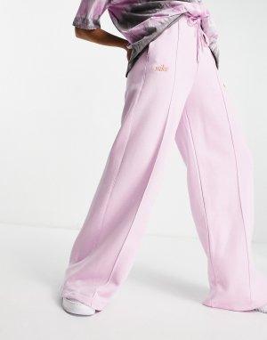 Светло-розовые флисовые джоггеры с завышенной талией и широкими штанинами -Фиолетовый цвет Nike