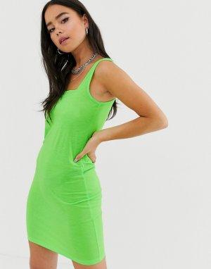 Облегающее платье-майка мини Erin-Зеленый Noisy May