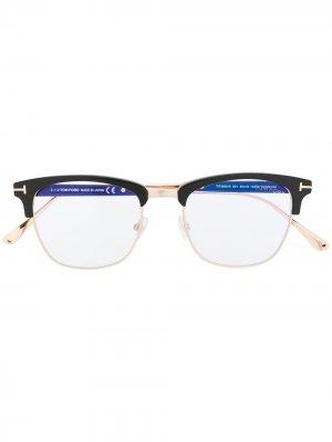 Очки в квадратной оправе TOM FORD Eyewear. Цвет: черный