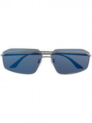 Солнцезащитные очки Hybrid в D-образной оправе Balenciaga Eyewear. Цвет: серебристый
