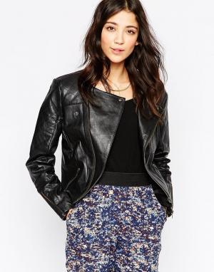 Кожаная байкерская куртка Ichi. Цвет: черный