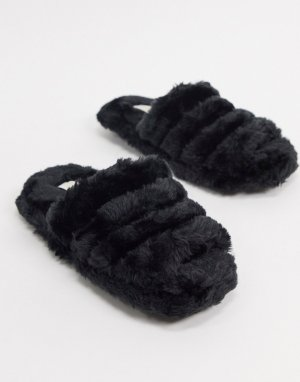 Черные меховые слиперы -Черный Truffle Collection
