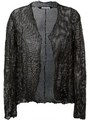 Перфорированная кожаная куртка Salvatore Santoro. Цвет: чёрный