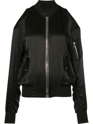 Куртка-бомбер с открытыми плечами Rta. Цвет: чёрный