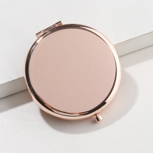 Круглое складное зеркало для макияжа SHEIN. Цвет: розовое золото