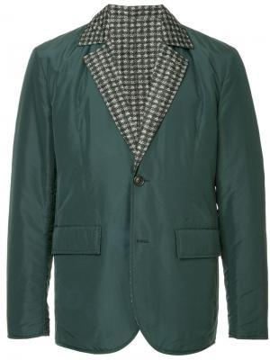 Пиджак с контрастными лацканами Cerruti 1881. Цвет: зеленый