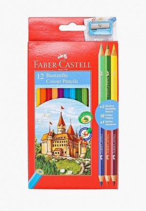 Набор для творчества Faber-Castell 12 цветных карандашей +6, с точилкой. Цвет: разноцветный