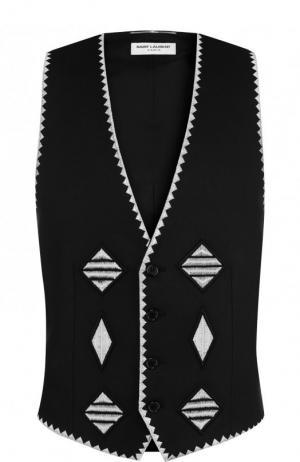 Льняной жилет с контрастной вышивкой Saint Laurent. Цвет: черный