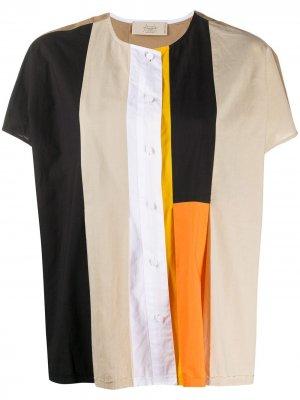 Рубашка с короткими рукавами в технике пэчворк Maison Flaneur. Цвет: коричневый