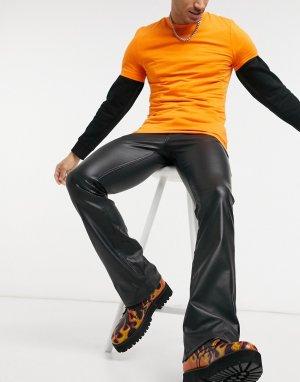 Черные расклешенные джинсы скинни с низкой посадкой и имитацией кожи -Черный ASOS DESIGN