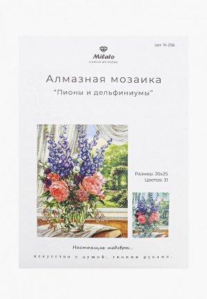 Набор для творчества Милато Алмазная мозайка Пионы и дельфиниумы, 31 цвет. Цвет: разноцветный