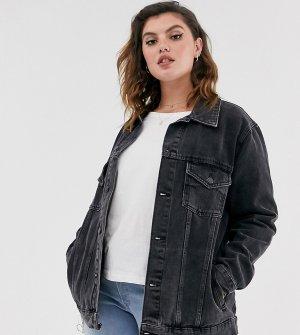 Свободная джинсовая куртка черного цвета с эффектом кислотной стирки New Look Curve-Черный Plus
