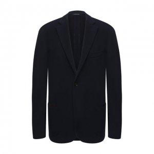 Пиджак из хлопка и шерсти Luciano Barbera. Цвет: синий