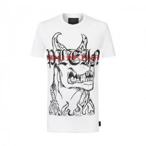 Хлопковая футболка Philipp Plein. Цвет: белый