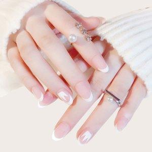 Двухцветный накладные ногти 24шт с лентой SHEIN. Цвет: белый