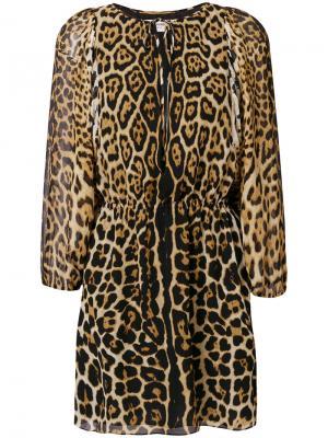 Короткое платье с леопардовым принтом Saint Laurent. Цвет: черный