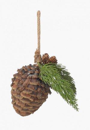 Игрушка елочная Decogallery Новогодняя подвеска Шишка. Цвет: коричневый