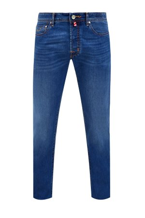Джинсы в стиле casual из денима с цветной прострочкой швов JACOB COHEN. Цвет: синий