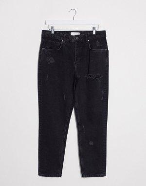 Черные рваные джинсы из жесткого денима -Черный ASOS DESIGN