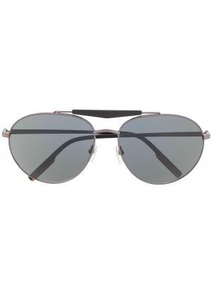 Солнцезащитные очки в круглой оправе Ermenegildo Zegna. Цвет: серый