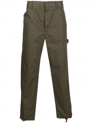 Прямые брюки с нашивкой-логотипом Engineered Garments. Цвет: зеленый