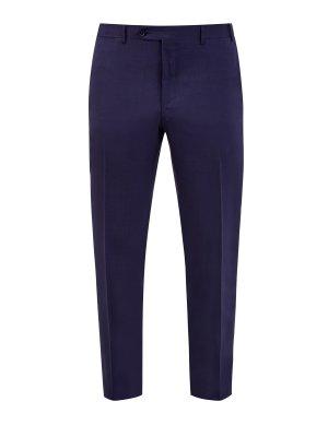 Классические брюки прямого кроя из тонкой шерсти CANALI. Цвет: синий