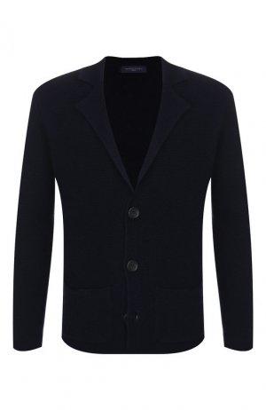 Шерстяной пиджак Daniele Fiesoli. Цвет: темно-синий